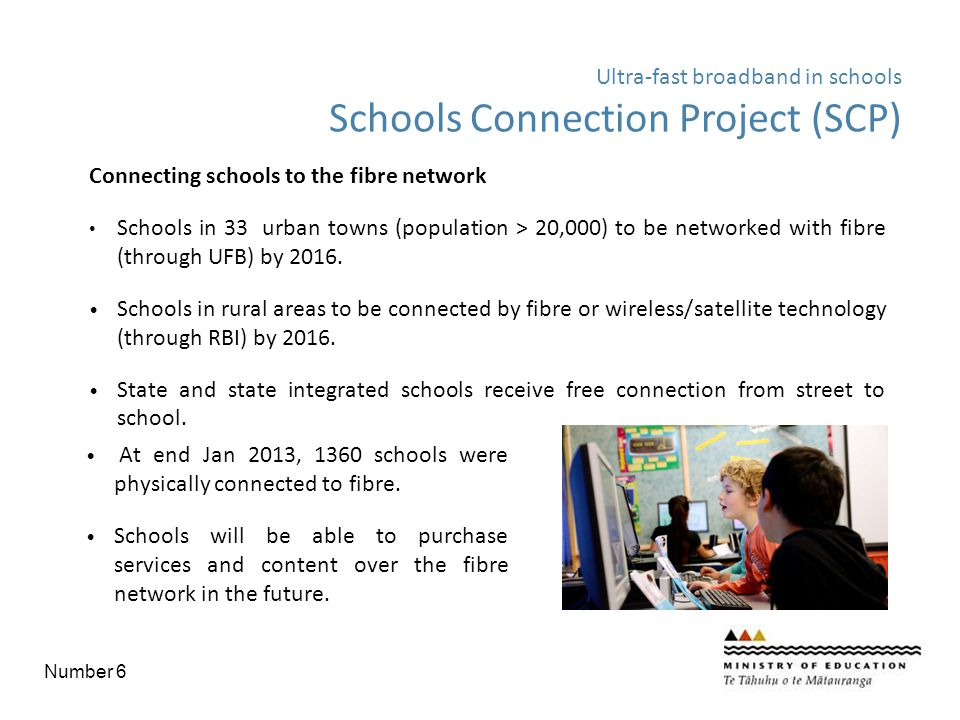 Connecting schools to the fibre network Schools in 33 urban towns (population > 20,000) to be networked with fibre (through UFB) by 2016. Schools in r