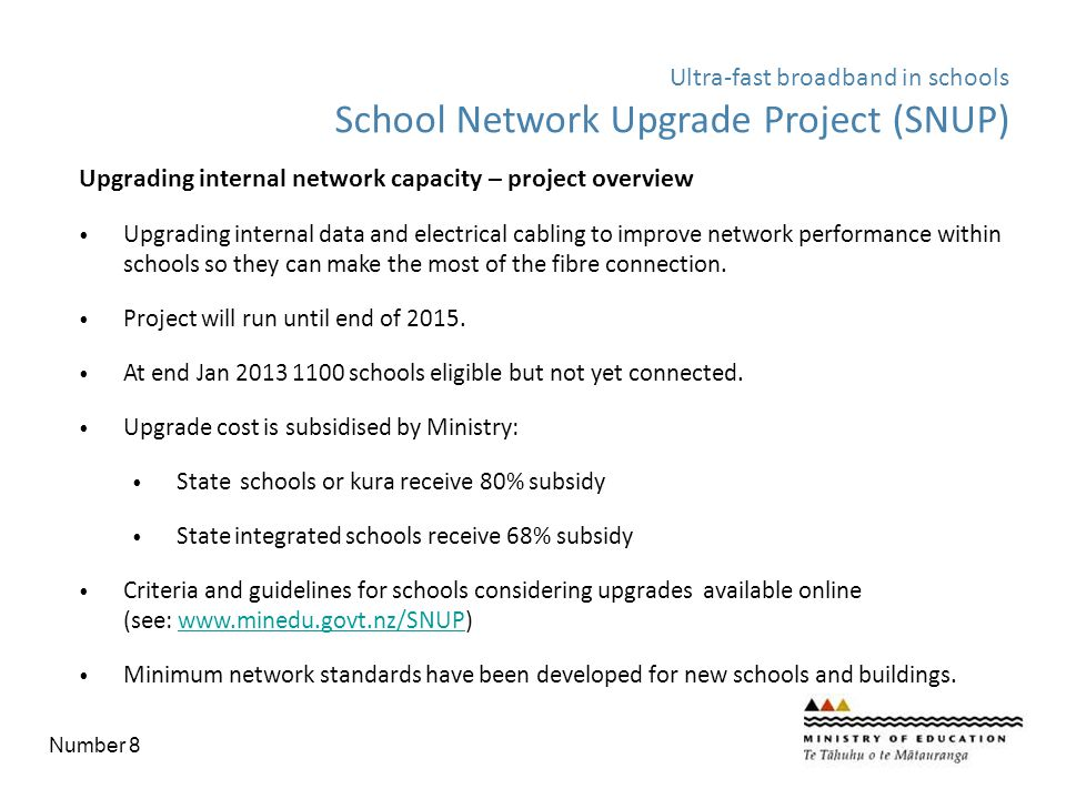 Upgrading internal network capacity – project overview Upgrading internal data and electrical cabling to improve network performance within schools so
