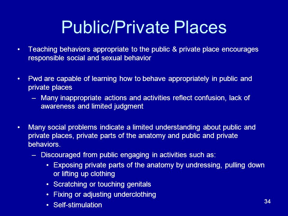 Public/Private Places Teaching behaviors appropriate to the public & private place encourages responsible social and sexual behavior Pwd are capable of learning how to behave appropriately in public and private places –Many inappropriate actions and activities reflect confusion, lack of awareness and limited judgment Many social problems indicate a limited understanding about public and private places, private parts of the anatomy and public and private behaviors.