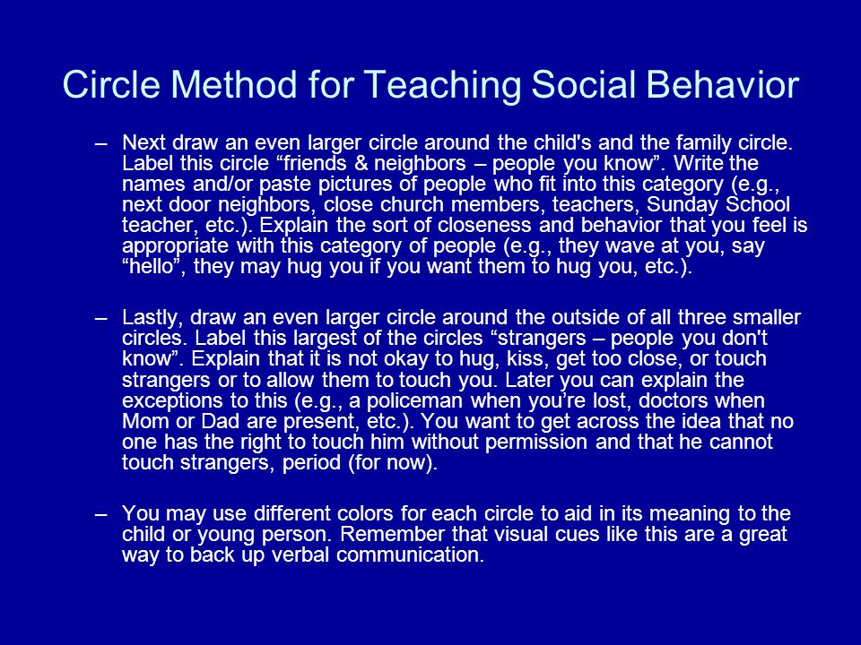 Circle Method for Teaching Social Behavior –Next draw an even larger circle around the child s and the family circle.