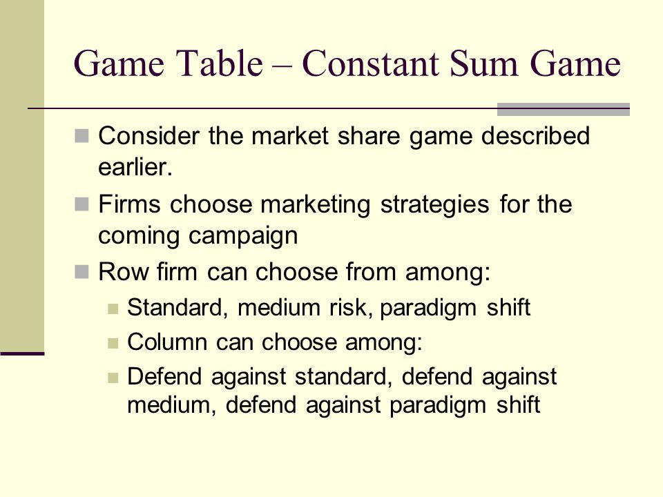 Game Table – Constant Sum Game Consider the market share game described earlier. Firms choose marketing strategies for the coming campaign Row firm ca