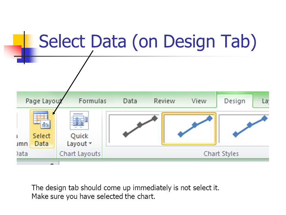 Select Data (on Design Tab) The design tab should come up immediately is not select it. Make sure you have selected the chart.