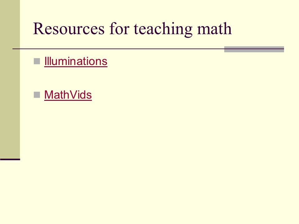 Resources for teaching math Illuminations MathVids