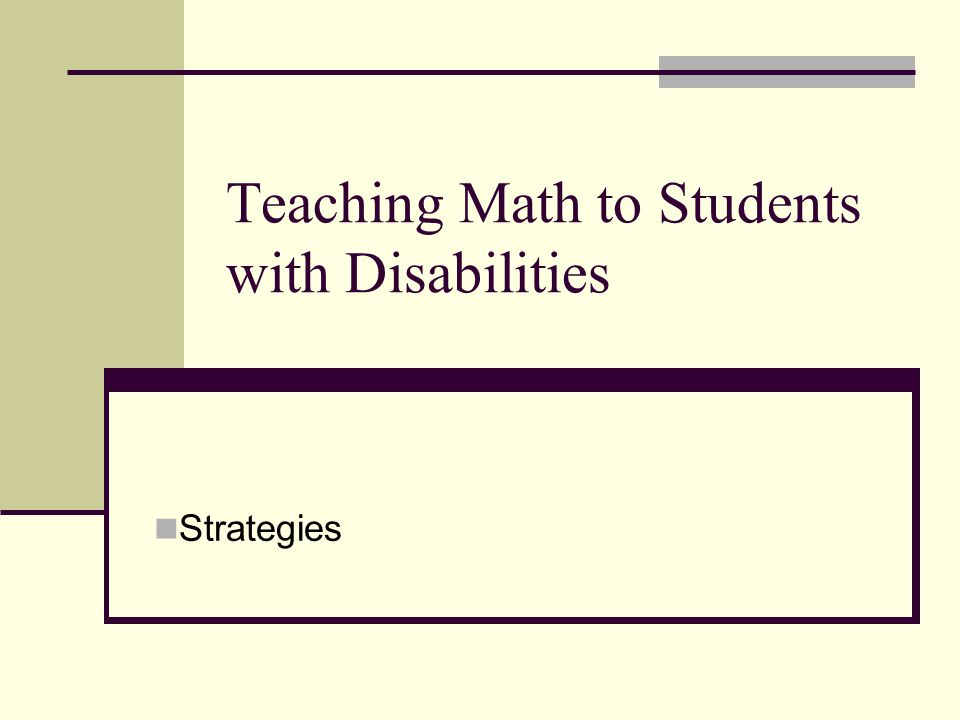 Teaching Math to Students with Disabilities Strategies