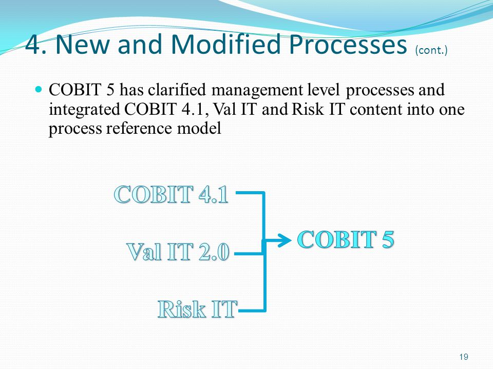 4. New and Modified Processes (cont.) COBIT 5 has clarified management level processes and integrated COBIT 4.1, Val IT and Risk IT content into one p
