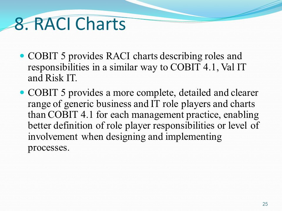 8. RACI Charts COBIT 5 provides RACI charts describing roles and responsibilities in a similar way to COBIT 4.1, Val IT and Risk IT. COBIT 5 provides