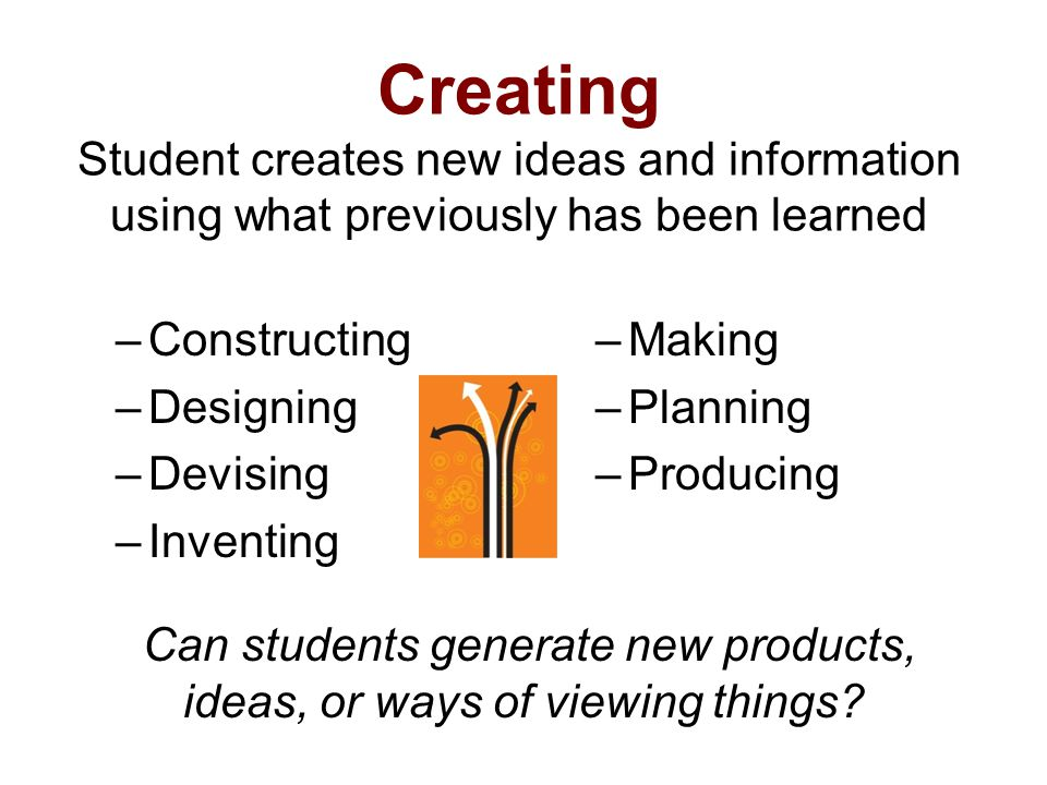 Creating Student creates new ideas and information using what previously has been learned –Constructing –Designing –Devising –Inventing –Making –Plann