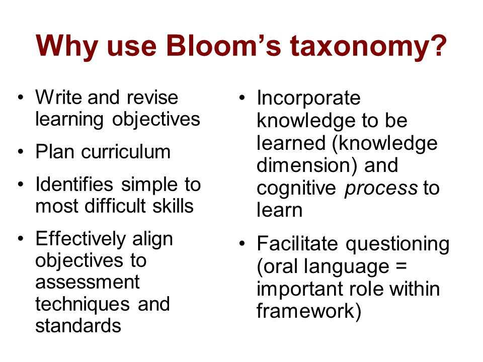 Why use Blooms taxonomy? Write and revise learning objectives Plan curriculum Identifies simple to most difficult skills Effectively align objectives