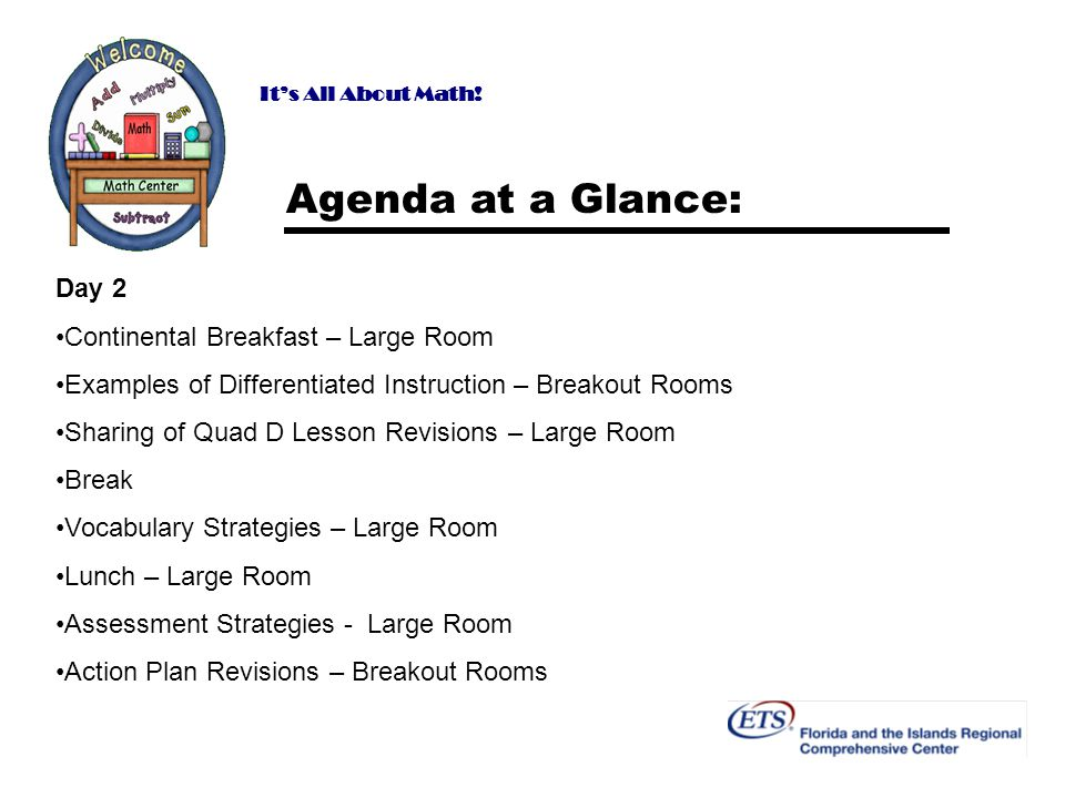 Its All About Math! Agenda at a Glance: Day 2 Continental Breakfast – Large Room Examples of Differentiated Instruction – Breakout Rooms Sharing of Qu
