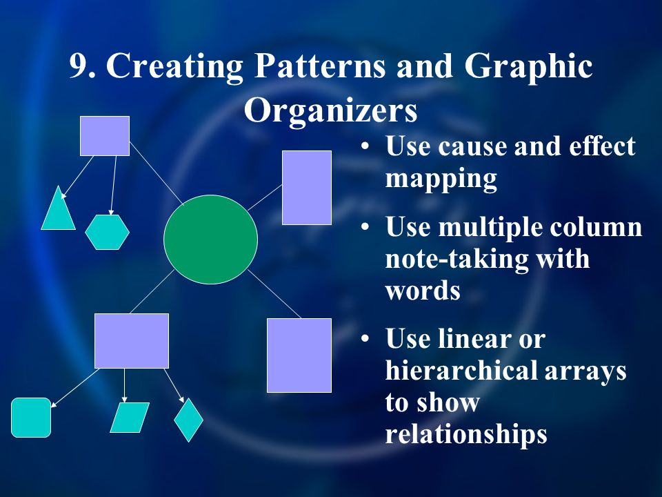 9. Creating Patterns and Graphic Organizers Use cause and effect mapping Use multiple column note-taking with words Use linear or hierarchical arrays