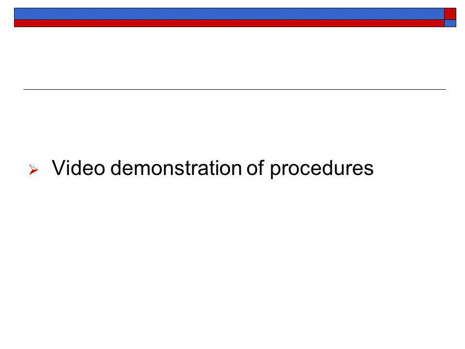 Video demonstration of procedures