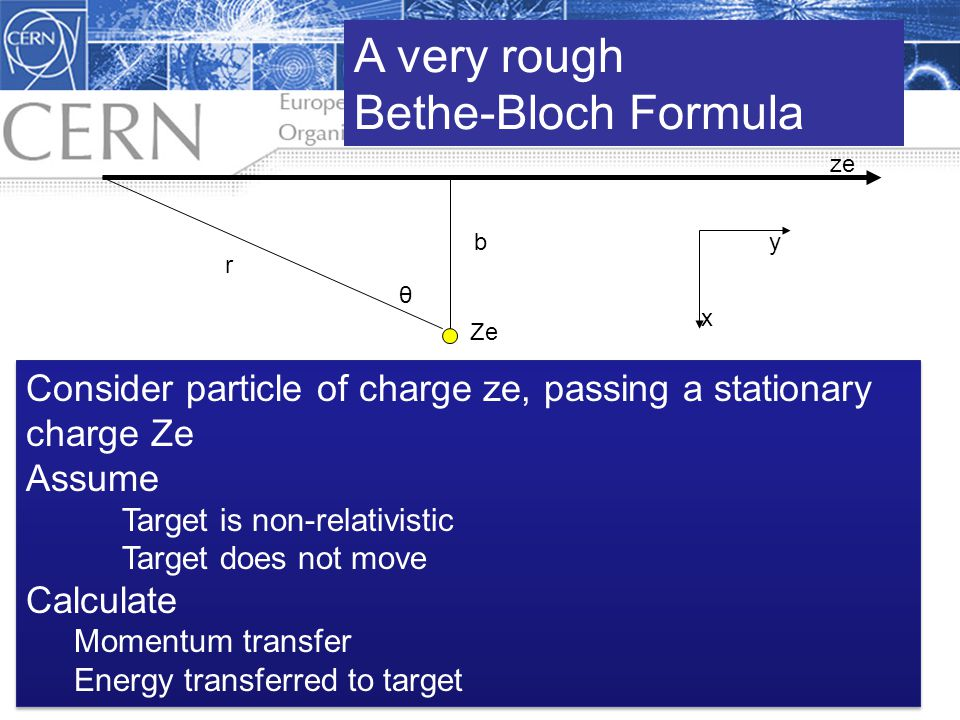 1.3 Interaction of Radiation with Matter ze Ze b r θ x y A very rough Bethe-Bloch Formula Consider particle of charge ze, passing a stationary charge