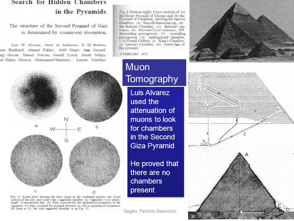Luis Alvarez used the attenuation of muons to look for chambers in the Second Giza Pyramid He proved that there are no chambers present Luis Alvarez u