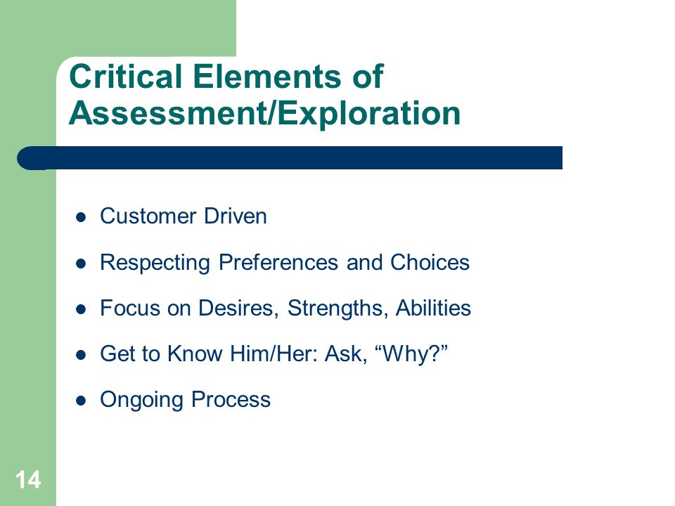 14 Critical Elements of Assessment/Exploration Customer Driven Respecting Preferences and Choices Focus on Desires, Strengths, Abilities Get to Know H