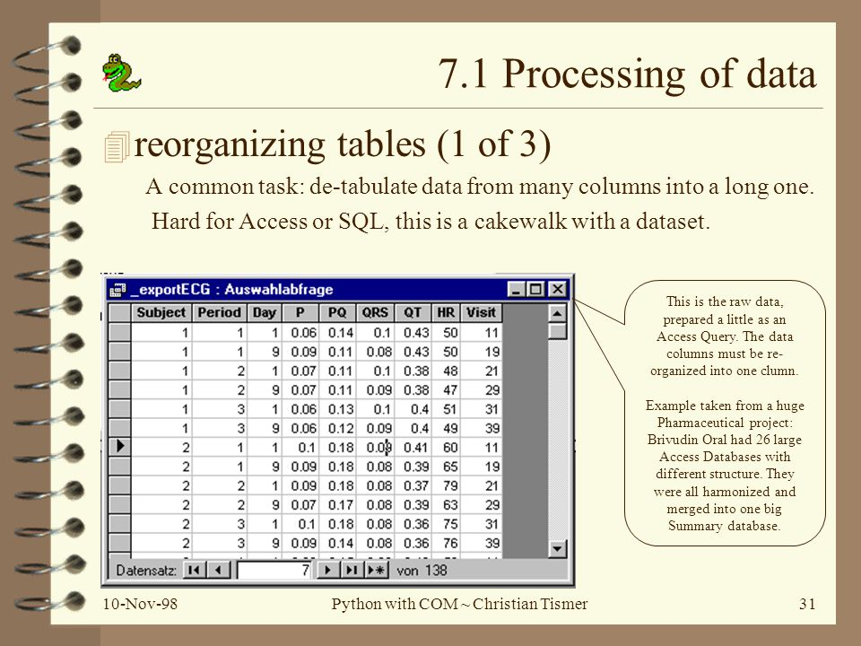 10-Nov-98Python with COM ~ Christian Tismer31 7.1 Processing of data 4 reorganizing tables (1 of 3) A common task: de-tabulate data from many columns into a long one.