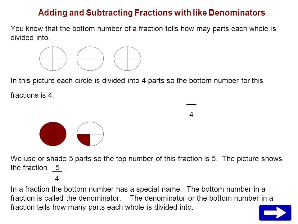 Adding and Subtracting Fractions with like Denominators You know that the bottom number of a fraction tells how may parts each whole is divided into.