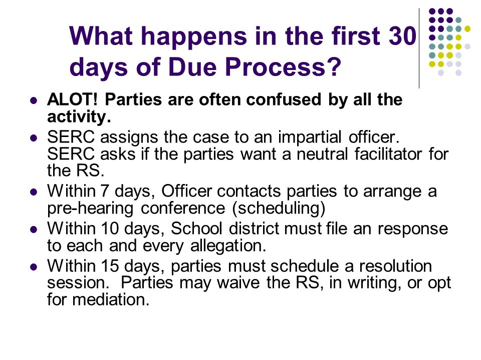 What happens in the first 30 days of Due Process. ALOT.