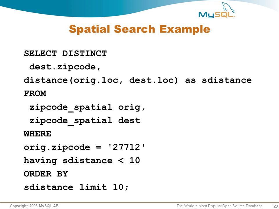 29 Copyright 2006 MySQL AB The Worlds Most Popular Open Source Database Spatial Search Example SELECT DISTINCT dest.zipcode, distance(orig.loc, dest.loc) as sdistance FROM zipcode_spatial orig, zipcode_spatial dest WHERE orig.zipcode = 27712 having sdistance < 10 ORDER BY sdistance limit 10;