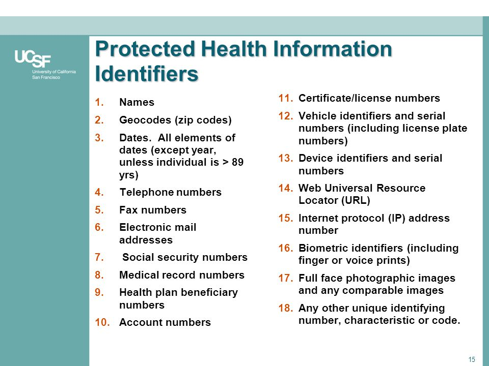 15 Protected Health Information Identifiers 1.Names 2.Geocodes (zip codes) 3.Dates. All elements of dates (except year, unless individual is > 89 yrs)