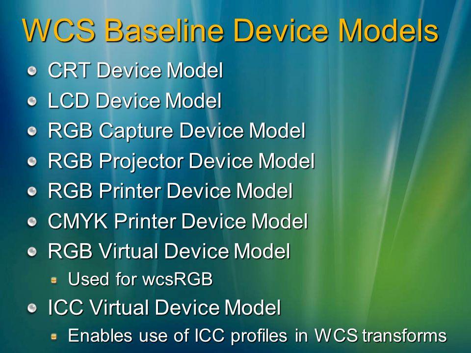 WCS Baseline Device Models CRT Device Model LCD Device Model RGB Capture Device Model RGB Projector Device Model RGB Printer Device Model CMYK Printer