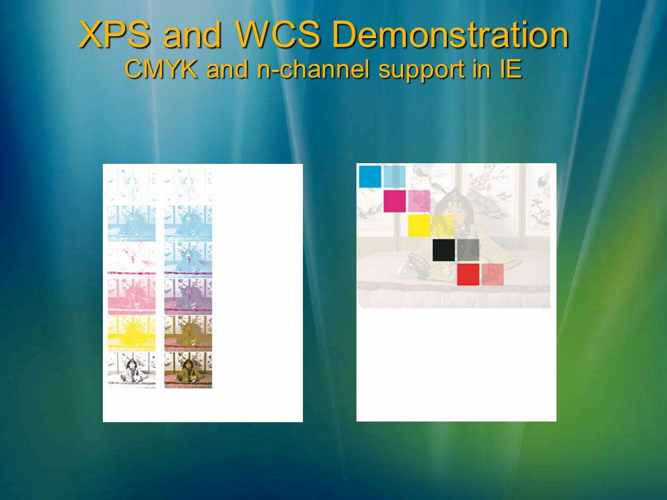 XPS and WCS Demonstration CMYK and n-channel support in IE