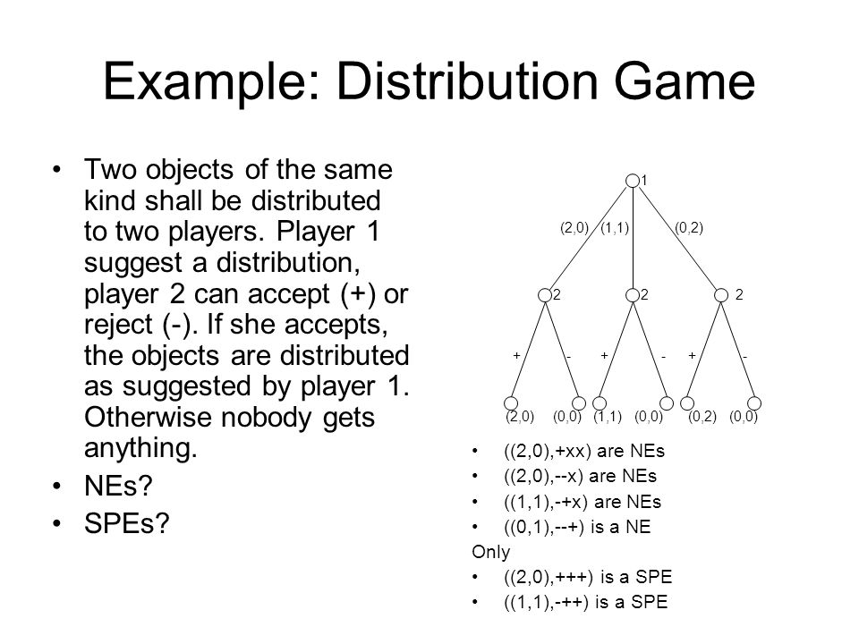Example: Distribution Game Two objects of the same kind shall be distributed to two players. Player 1 suggest a distribution, player 2 can accept (+)