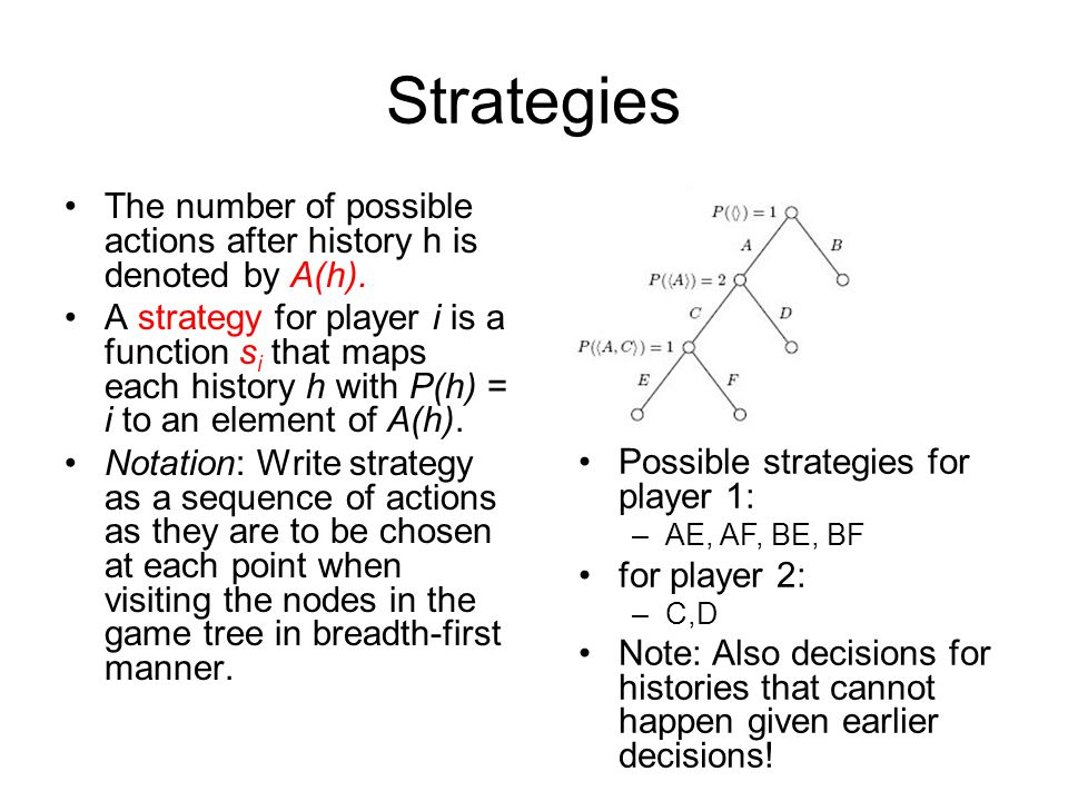 Strategies The number of possible actions after history h is denoted by A(h). A strategy for player i is a function s i that maps each history h with