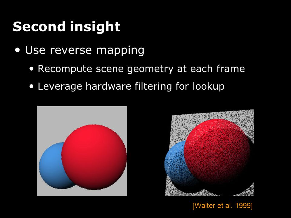 [Walter et al. 1999] Second insight Use reverse mapping Recompute scene geometry at each frame Leverage hardware filtering for lookup