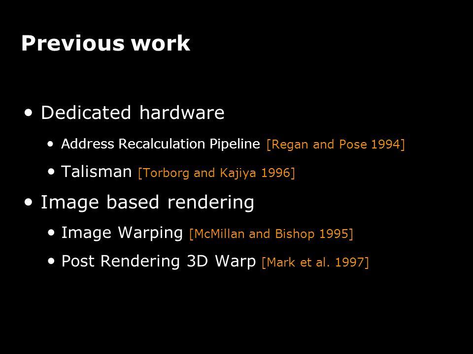 Previous work Dedicated hardware Address Recalculation Pipeline [Regan and Pose 1994] Talisman [Torborg and Kajiya 1996] Image based rendering Image W