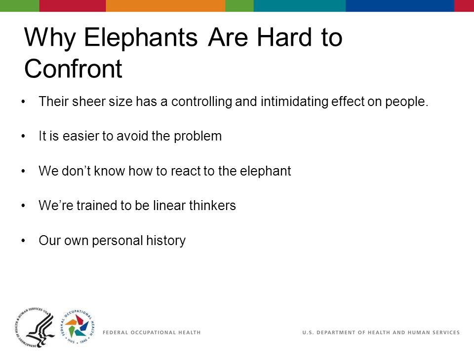 How to Deal With Your Elephant in the Room Acknowledge it is there All you can think about is the chocolate bar in the cupboard Remind them of the old saying Whatever you do, DO NOT think about the elephant in the room