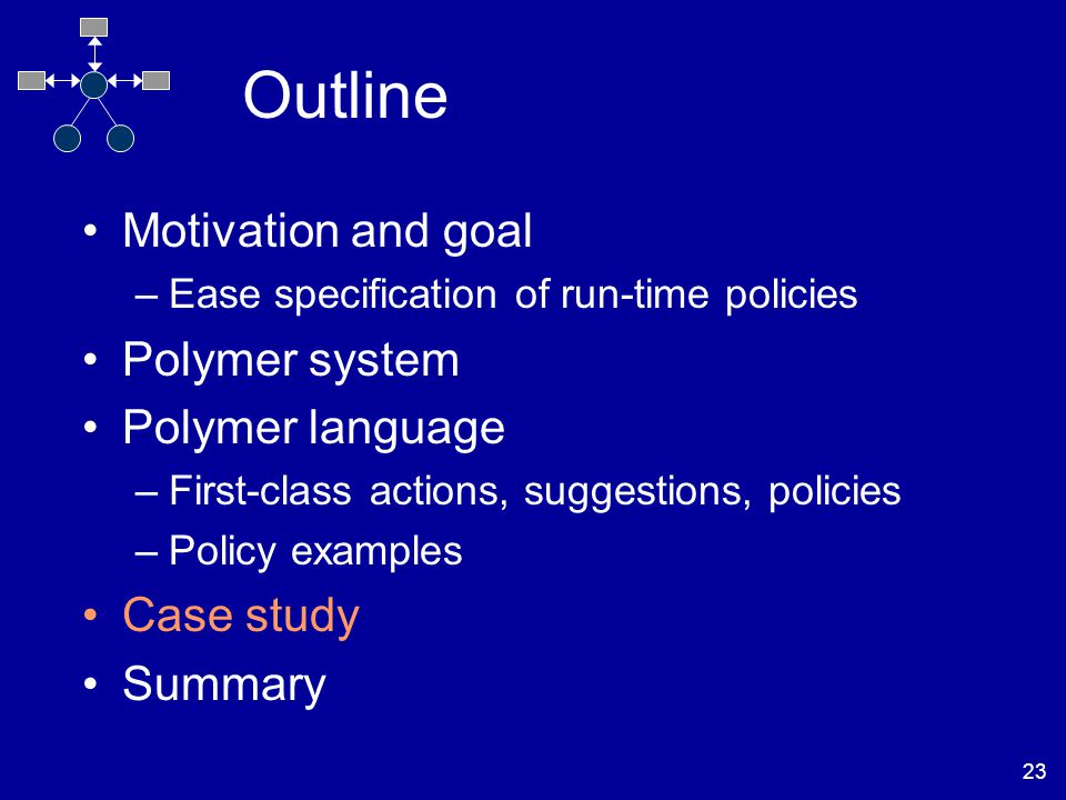 23 Outline Motivation and goal –Ease specification of run-time policies Polymer system Polymer language –First-class actions, suggestions, policies –Policy examples Case study Summary