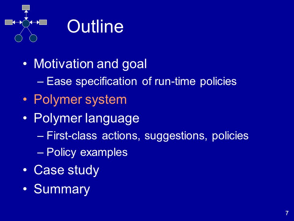 7 Outline Motivation and goal –Ease specification of run-time policies Polymer system Polymer language –First-class actions, suggestions, policies –Policy examples Case study Summary