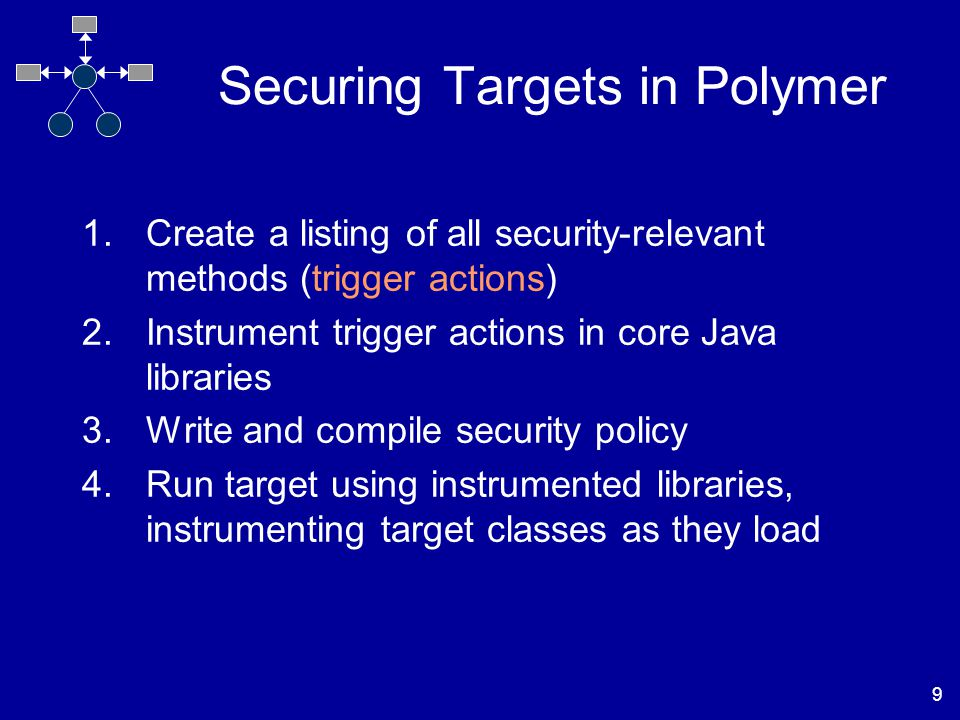 9 Securing Targets in Polymer 1.Create a listing of all security-relevant methods (trigger actions) 2.Instrument trigger actions in core Java libraries 3.Write and compile security policy 4.Run target using instrumented libraries, instrumenting target classes as they load