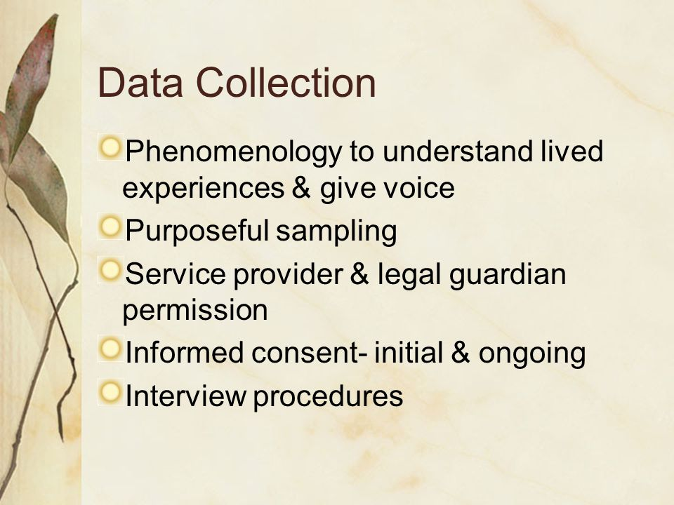 Data Collection Phenomenology to understand lived experiences & give voice Purposeful sampling Service provider & legal guardian permission Informed consent- initial & ongoing Interview procedures