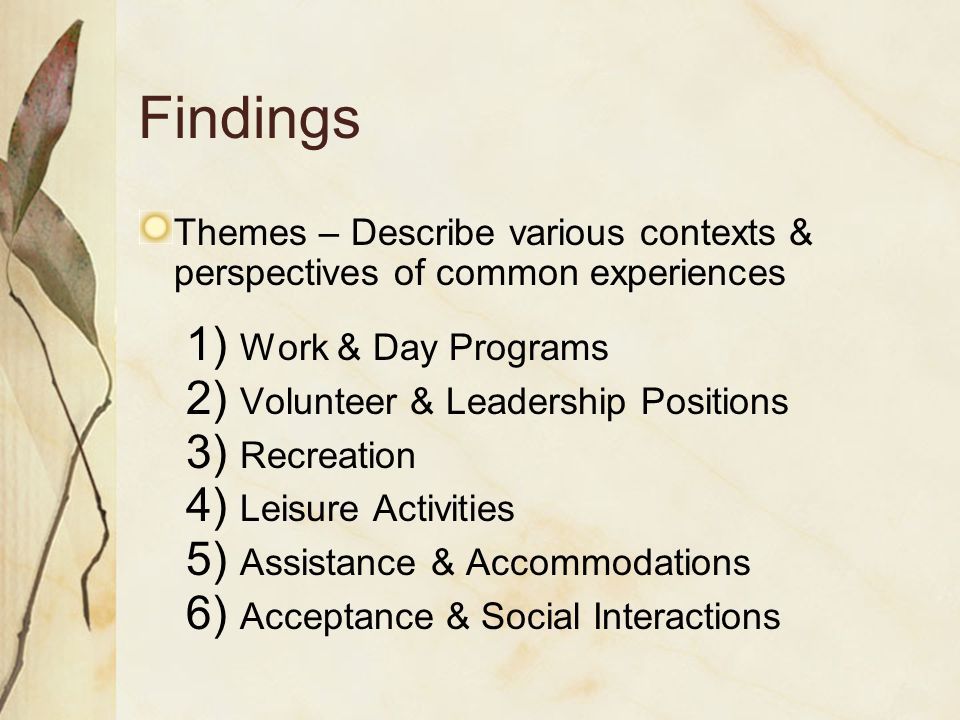 Findings Themes – Describe various contexts & perspectives of common experiences 1) Work & Day Programs 2) Volunteer & Leadership Positions 3) Recreation 4) Leisure Activities 5) Assistance & Accommodations 6) Acceptance & Social Interactions