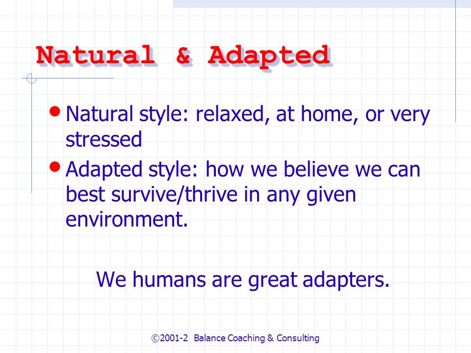 ©2001-2 Balance Coaching & Consulting Natural & Adapted Natural style: relaxed, at home, or very stressed Adapted style: how we believe we can best su