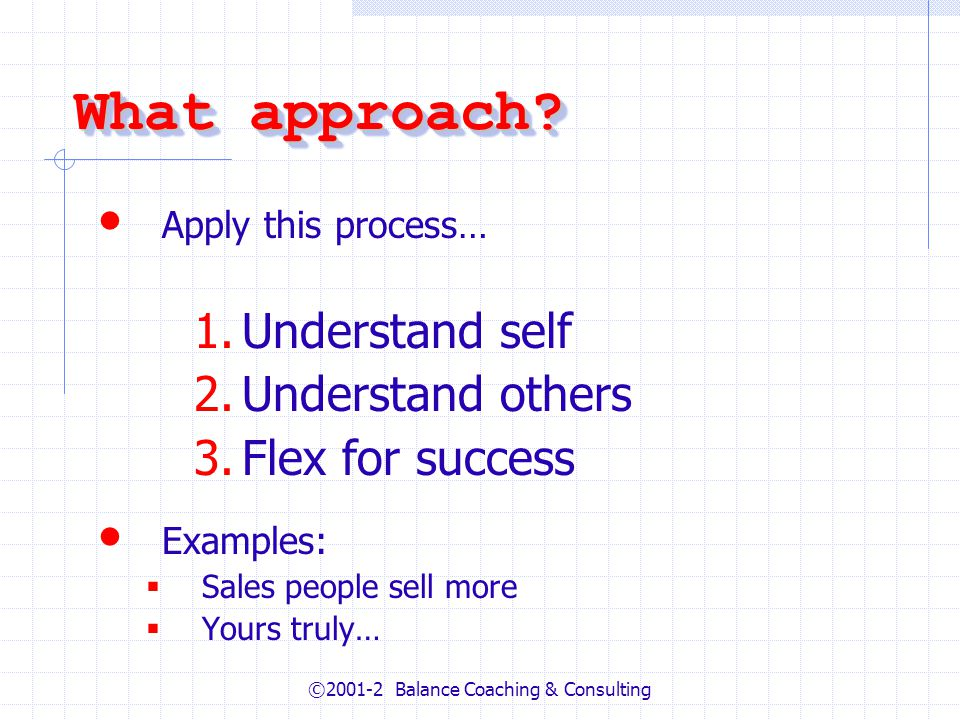 ©2001-2 Balance Coaching & Consulting What approach? Apply this process… 1.Understand self 2.Understand others 3.Flex for success Examples: Sales peop