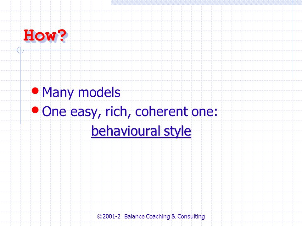 ©2001-2 Balance Coaching & Consulting How How.