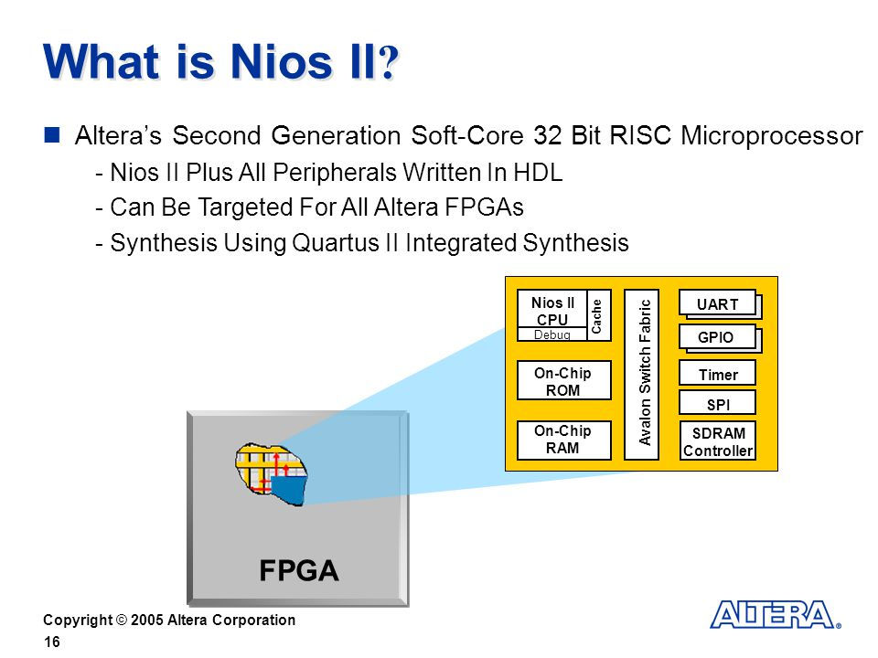 Copyright © 2005 Altera Corporation 16 What is Nios II .