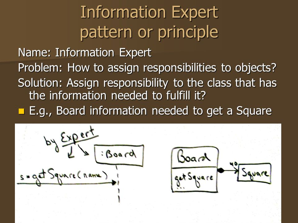 Information Expert pattern or principle Name: Information Expert Problem: How to assign responsibilities to objects? Solution: Assign responsibility t