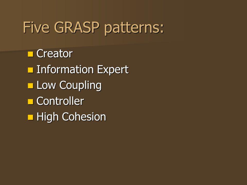 Five GRASP patterns: Creator Creator Information Expert Information Expert Low Coupling Low Coupling Controller Controller High Cohesion High Cohesion