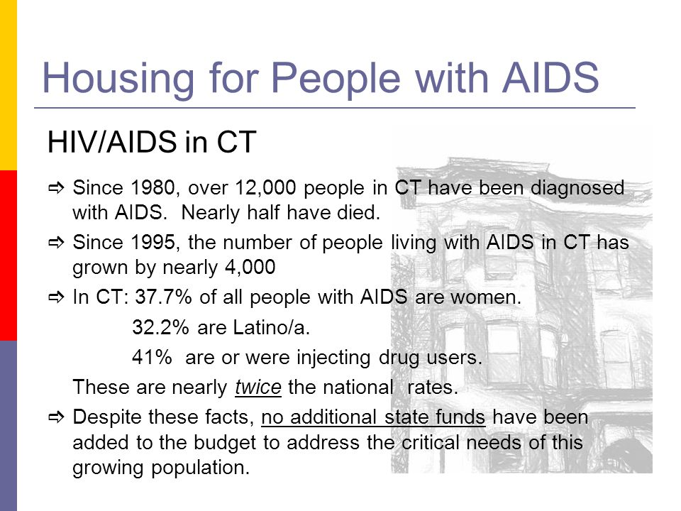 Housing for People with AIDS HIV/AIDS in CT Since 1980, over 12,000 people in CT have been diagnosed with AIDS. Nearly half have died. Since 1995, the