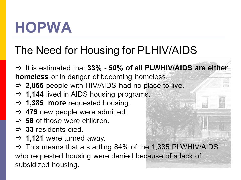 HOPWA The Need for Housing for PLHIV/AIDS It is estimated that 33% - 50% of all PLWHIV/AIDS are either homeless or in danger of becoming homeless. 2,8