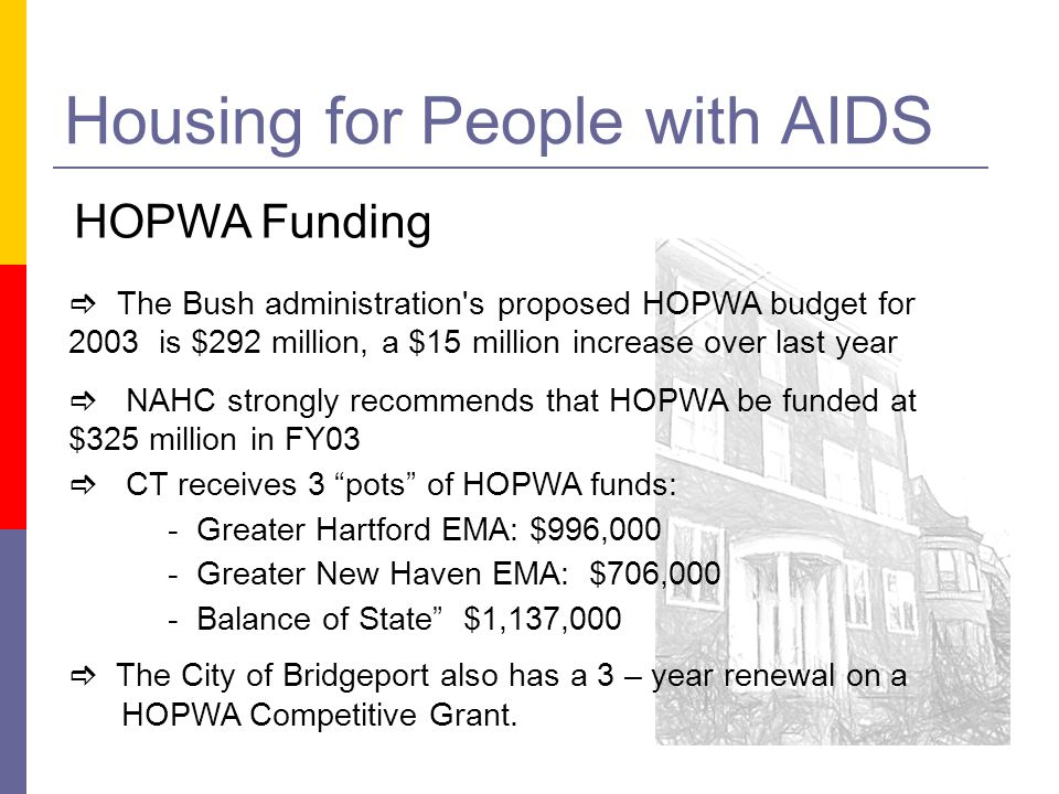Housing for People with AIDS HOPWA Funding The Bush administration s proposed HOPWA budget for 2003 is $292 million, a $15 million increase over last year NAHC strongly recommends that HOPWA be funded at $325 million in FY03 CT receives 3 pots of HOPWA funds: - Greater Hartford EMA: $996,000 - Greater New Haven EMA: $706,000 - Balance of State $1,137,000 The City of Bridgeport also has a 3 – year renewal on a HOPWA Competitive Grant.