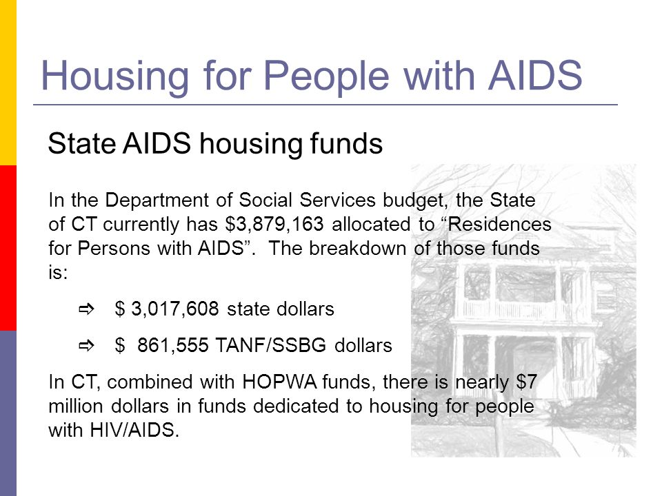 Housing for People with AIDS State AIDS housing funds In the Department of Social Services budget, the State of CT currently has $3,879,163 allocated