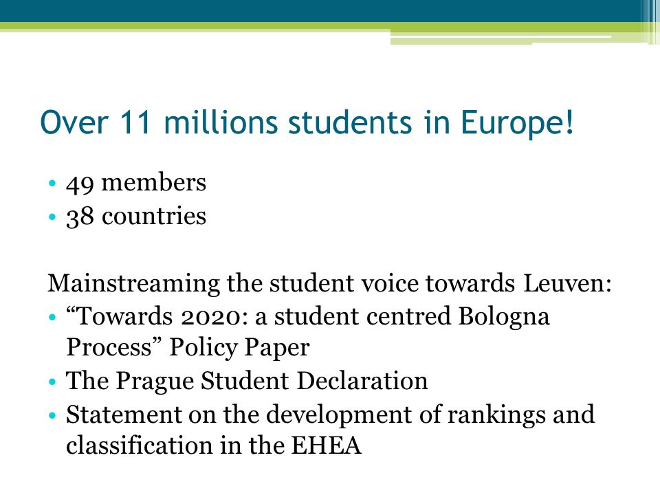 Over 11 millions students in Europe.