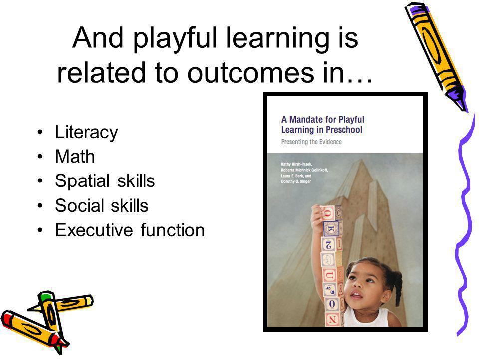 And playful learning is related to outcomes in… Literacy Math Spatial skills Social skills Executive function