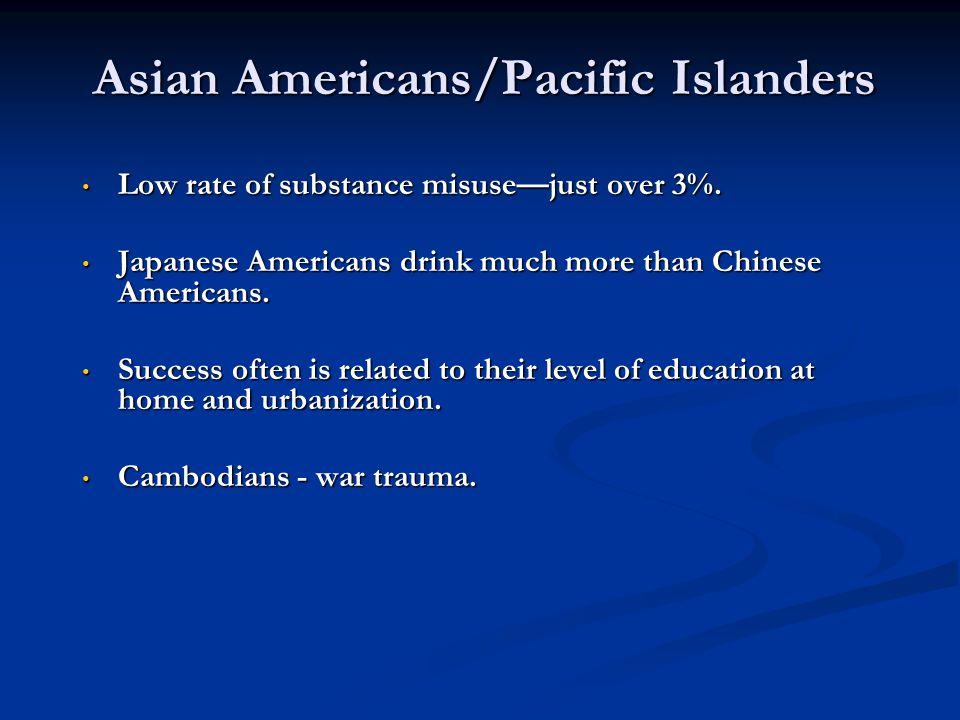 Asian Americans/Pacific Islanders Low rate of substance misusejust over 3%. Low rate of substance misusejust over 3%. Japanese Americans drink much mo