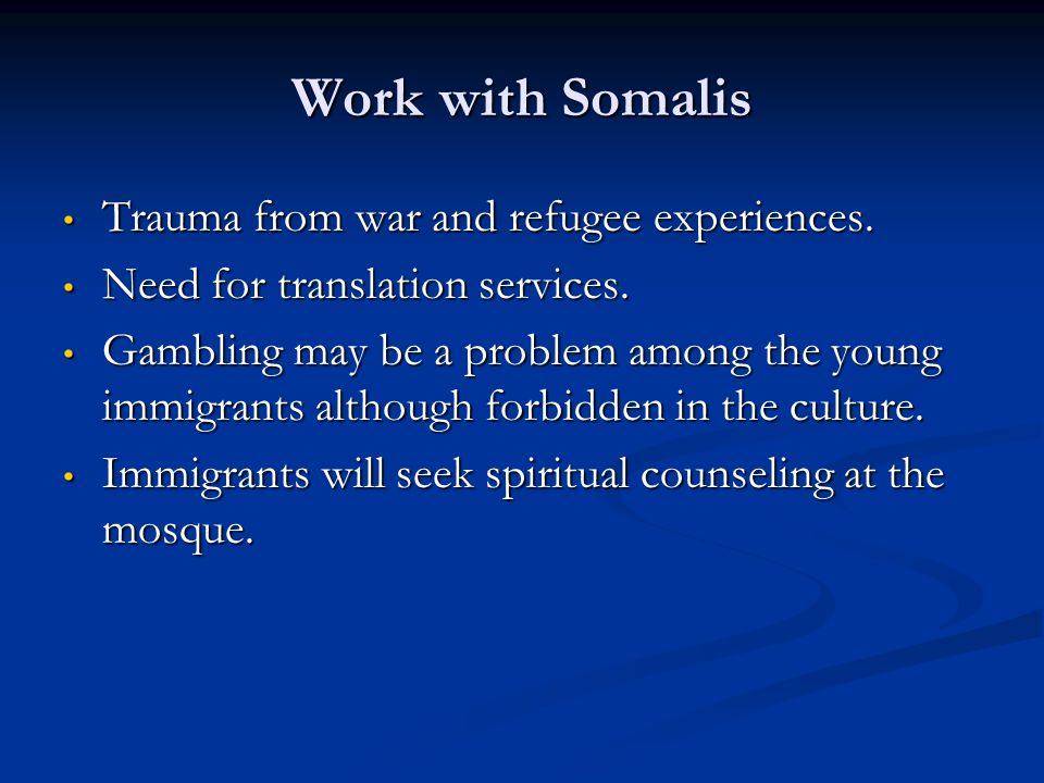 Work with Somalis Trauma from war and refugee experiences. Trauma from war and refugee experiences. Need for translation services. Need for translatio