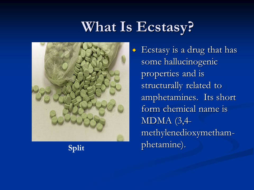 What Is Ecstasy? Ecstasy is a drug that has some hallucinogenic properties and is structurally related to amphetamines. Its short form chemical name i